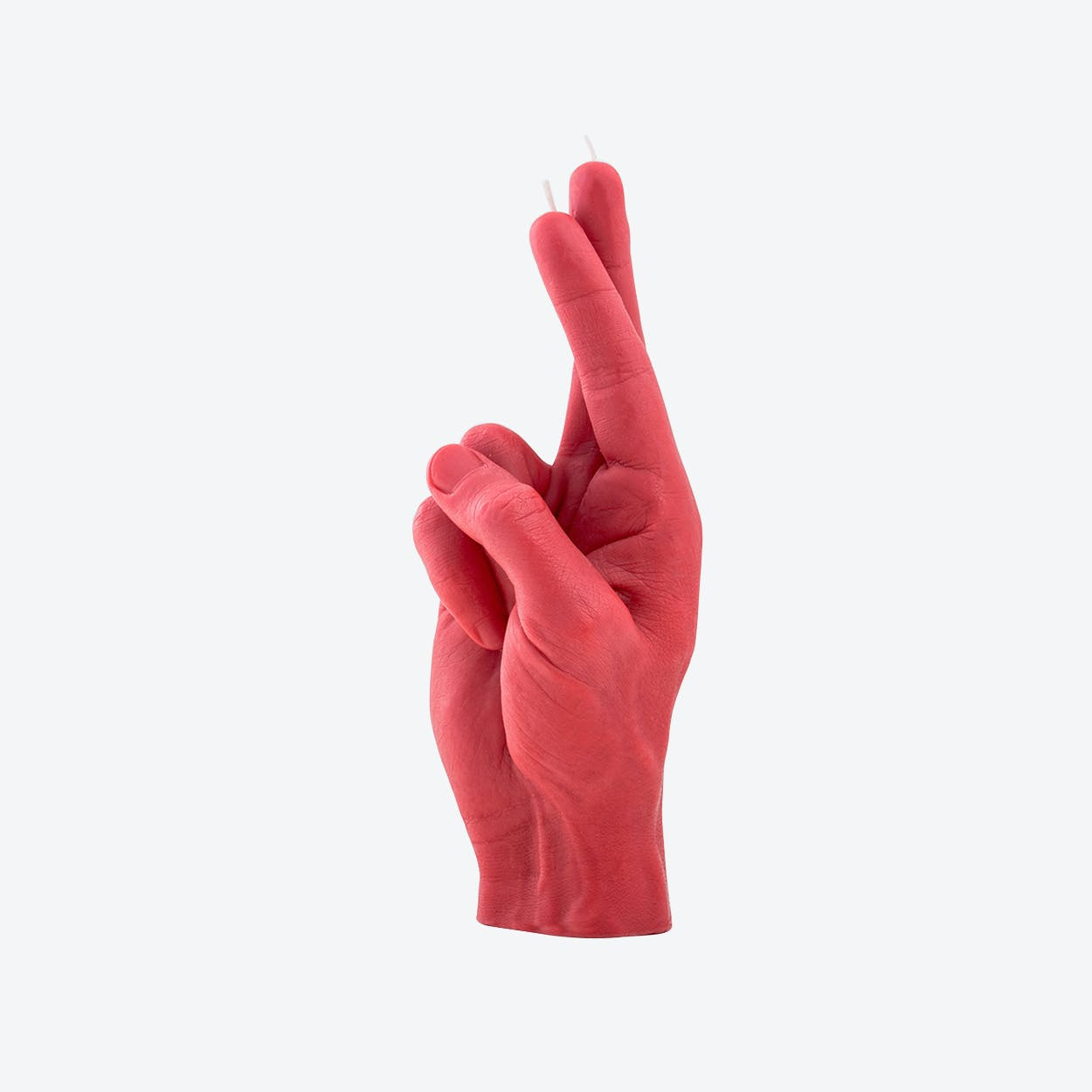 """CrossedFingers"" Hand Gesture Candle in Red"