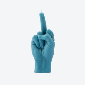 """Fcuk you"" Hand Gesture Candle in Blue"