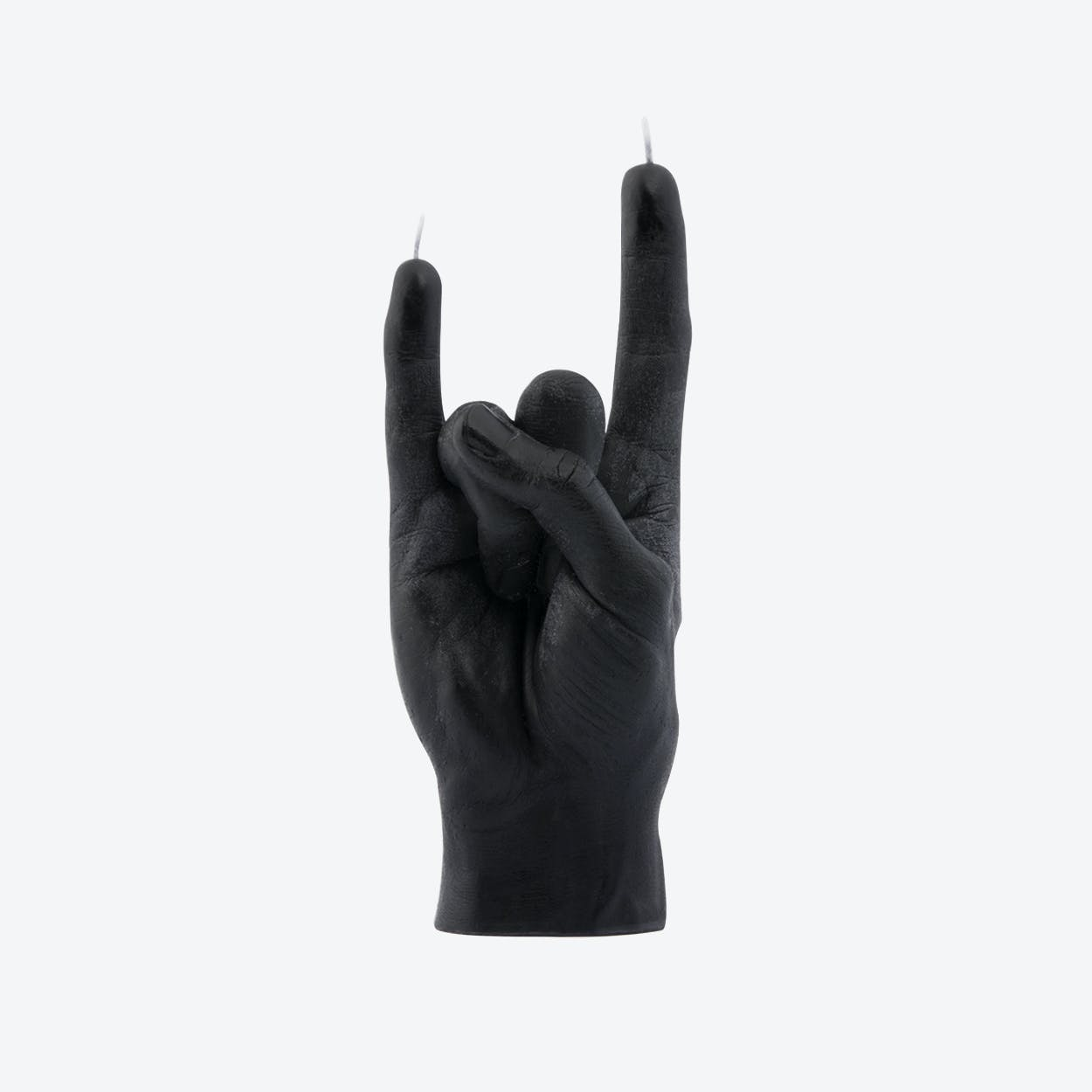 """You Rock"" Hand Gesture Candle in Black"