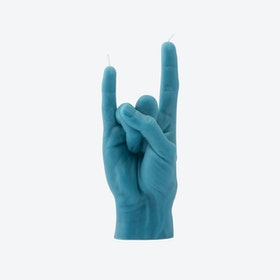 """You Rock"" Hand Gesture Candle in Blue"