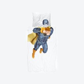 Superhero Duvet Cover & Pillowcase Set in Blue