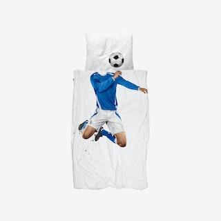 Soccer Champ Duvet Cover & Pillowcase Set in Blue