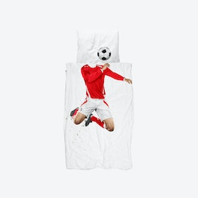 Soccer Champ Duvet Cover & Pillowcase Set in Red