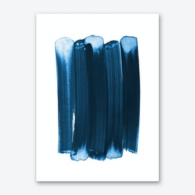 Indigo Strokes Art Print
