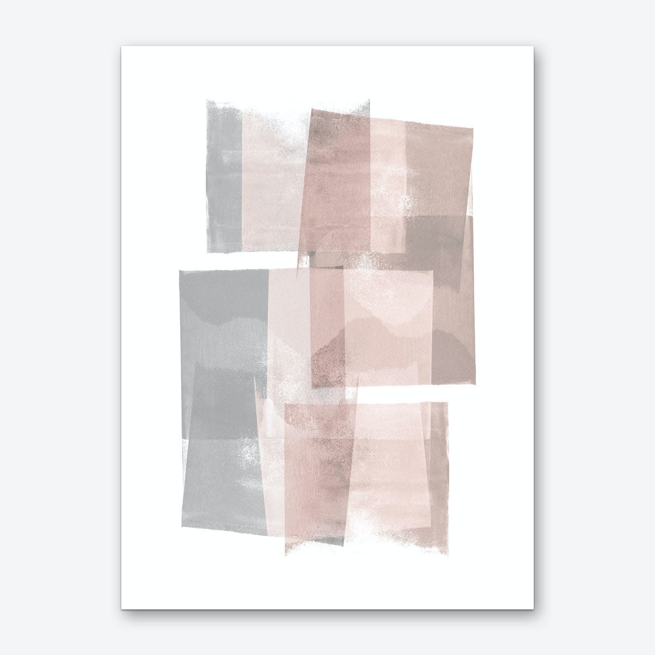 Pink Grey Blocks Art Print
