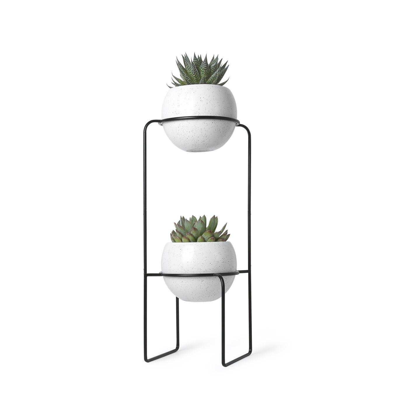 Nesta Freestand Planter in White with Speckle