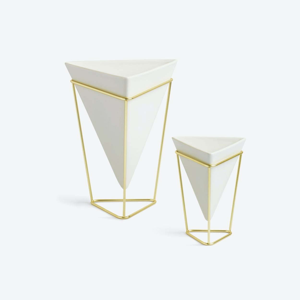 Trigg Tabletop in White & Brass (Set of 2)