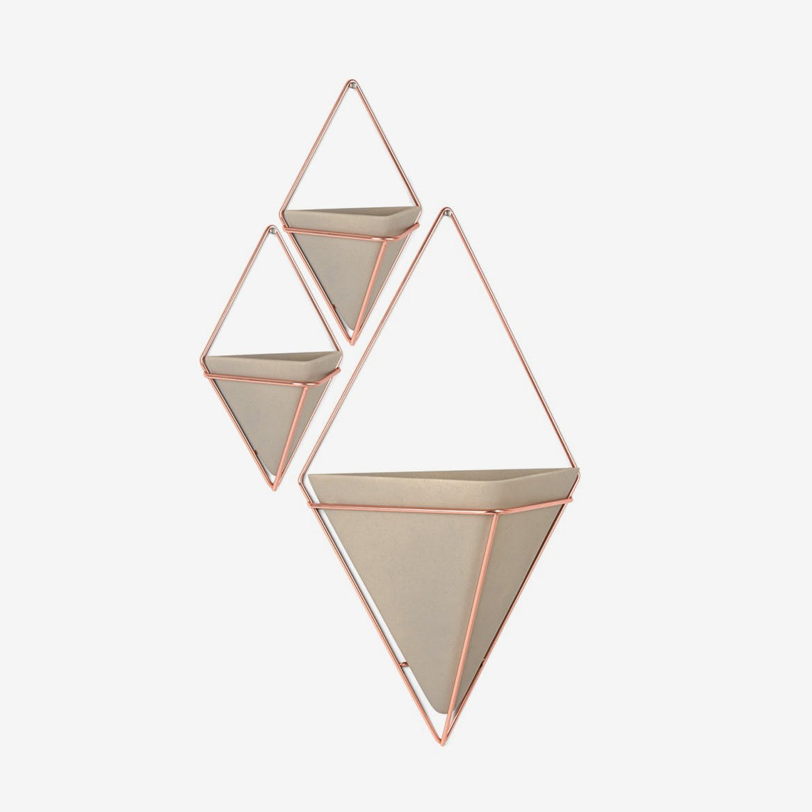 Trigg Wall Display Concrete & Copper (Set of 3)