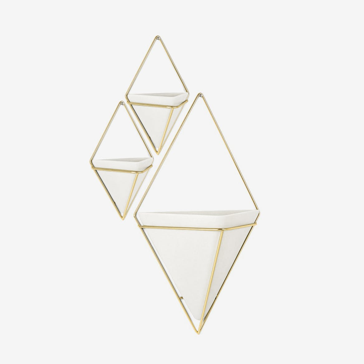 Trigg Wall Display in White & Brass (Set of 3)