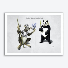 Donkey Xote and Sancho Panda Art Print