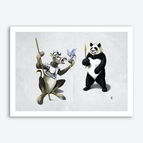 Donkey Xote and Sancho Panda (Wordless) Art Print