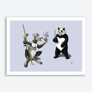 Donkey Xote and Sancho Panda (Colour) Art Print