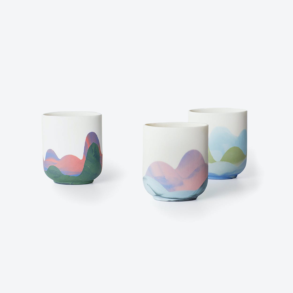 Porcelain Hong Kong Inspired Espresso Cups - Mixed - Set of 4