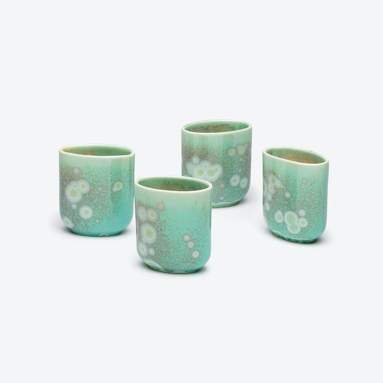Porcelain Crystalline Cups - Jade - Set of 4