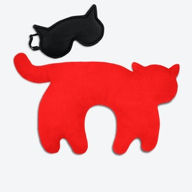 Travel Set of 2-Travel Pillow (Cat in Red/Black) & Eye Mask (Cat in Black/Black)