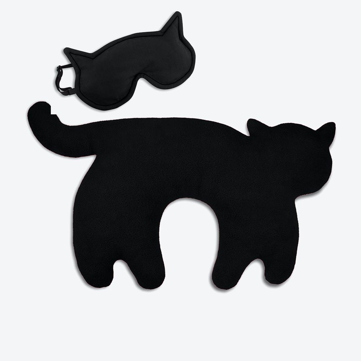 Travel Set of 2-Travel Pillow (Cat in Black/Black) & Eye Mask (Cat in Black/Black)