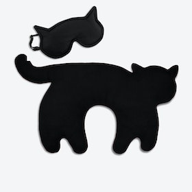 Travel Set of 2-Travel Pillow (Cat in Black/Black) & Eye Mask (Cat in Black/Black)