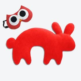 Travel Set of 2-Travel Pillow (Rabbit in Red/Black) & Eye Mask (Owl in Red/Black)