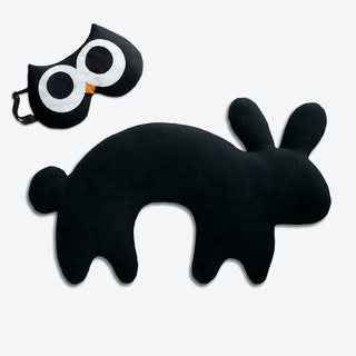 Travel Set of 2-Travel Pillow (Rabbit in Black/Black) & Eye Mask (Owl in Black/Black)