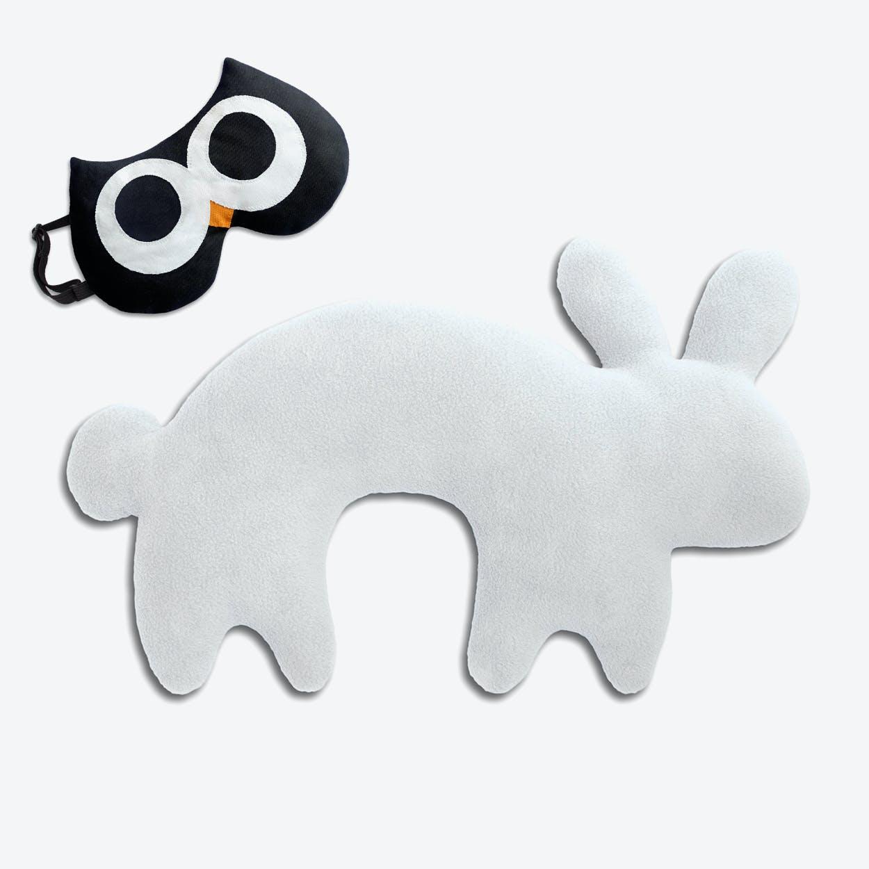 Travel Set of 2-Travel Pillow (Rabbit in White/Black) & Eye Mask (Owl in Black/Black)