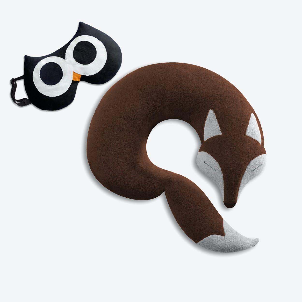 Travel Set of 2-Travel Pillow (Fox in Brown/Black) & Eye Mask (Owl in Black/Black)
