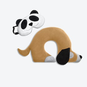 Travel Set of 2-Travel Pillow (Dog in Sand / Black) & Eye Mask (Panda in Black/Black)