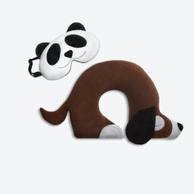 Travel Set of 2-Travel Pillow (Dog in Brown/Black) & Eye Mask (Panda in Black/Black)