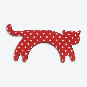 Warming Pillow, Minina The Cat, Standing, Big in Polka Dot Red / Black