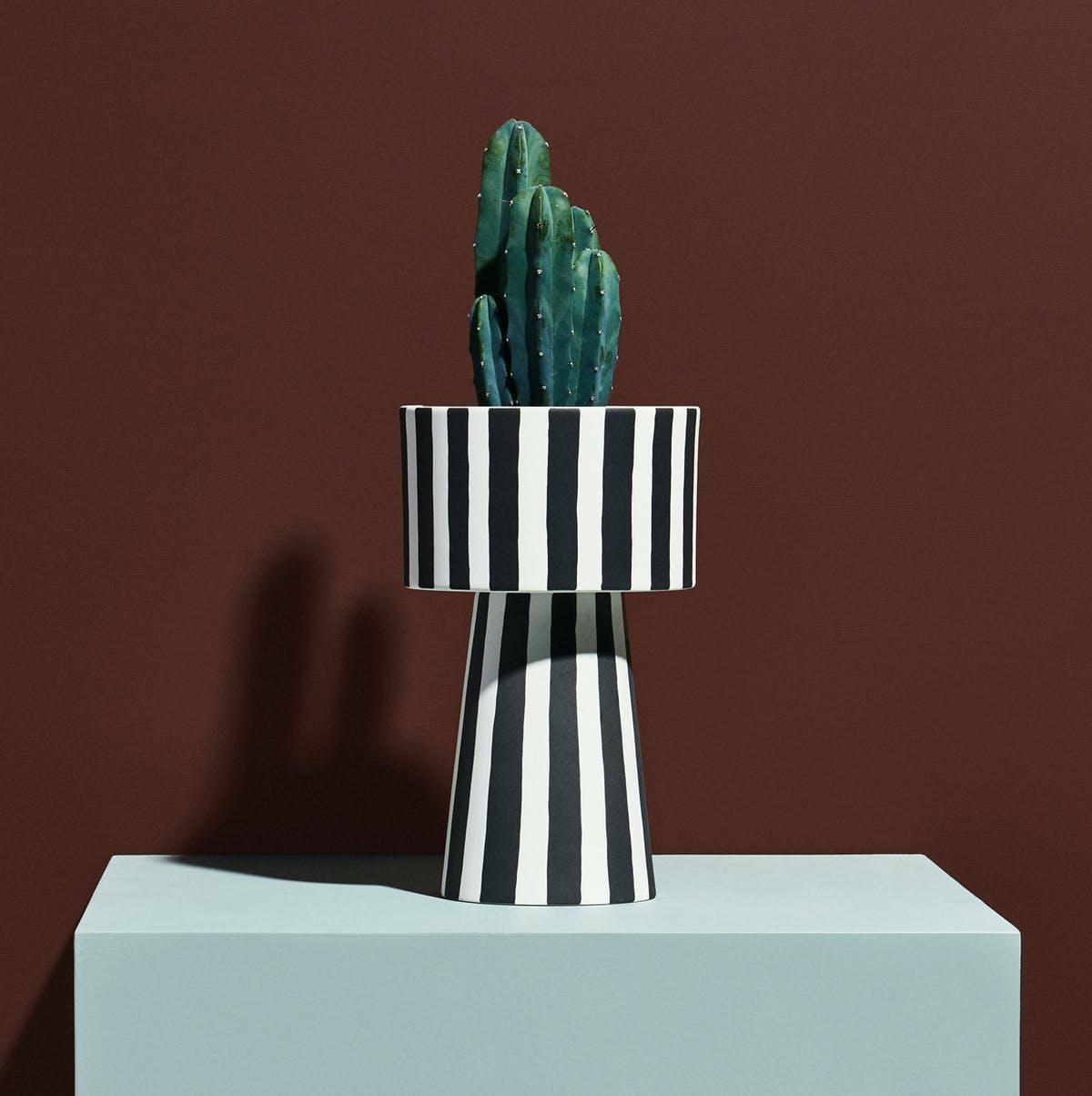 Toppu Pot - Large Stripe in Black/White