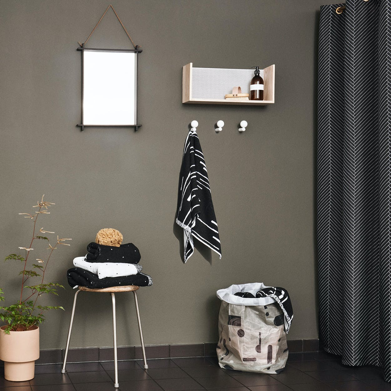 Herringbone Shower Curtain in Black/White