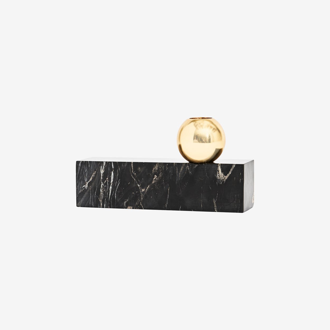 Tangent Candleholder Low in Black Marble