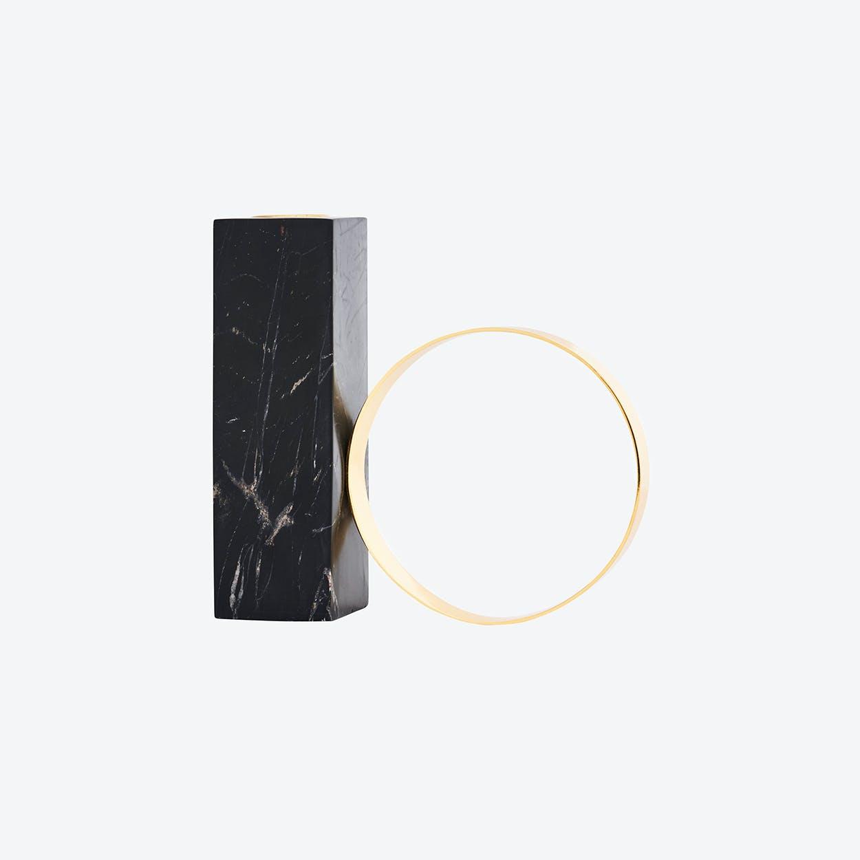Tangent Candleholder High in Black Marble