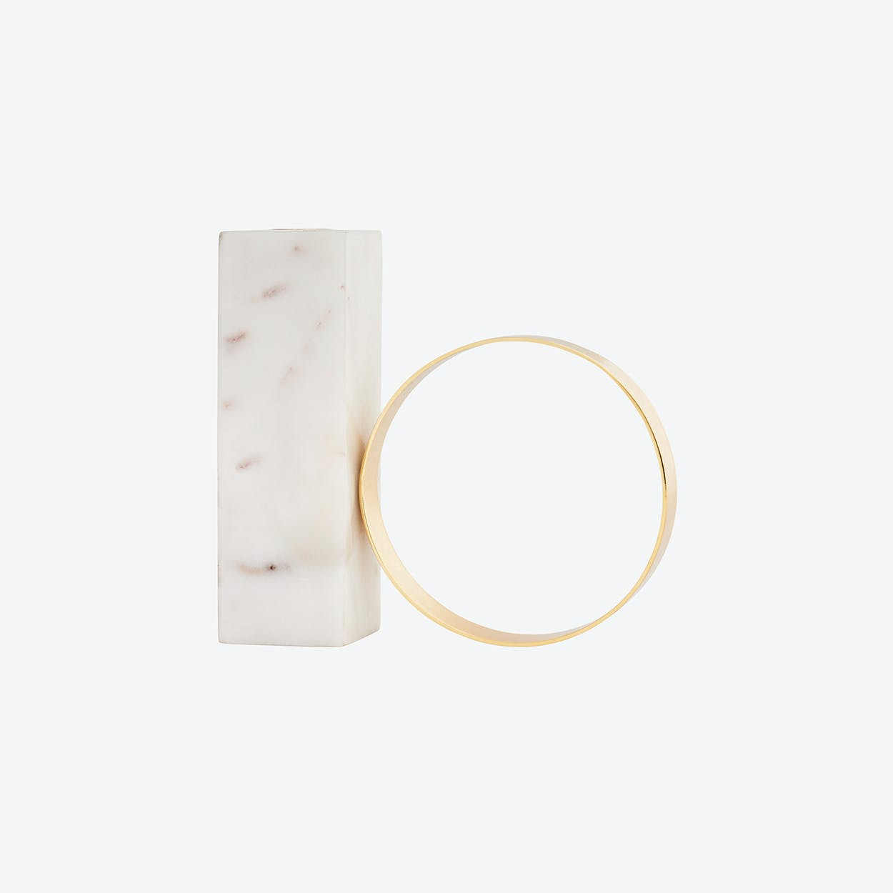 Tangent Candleholder High in White Marble