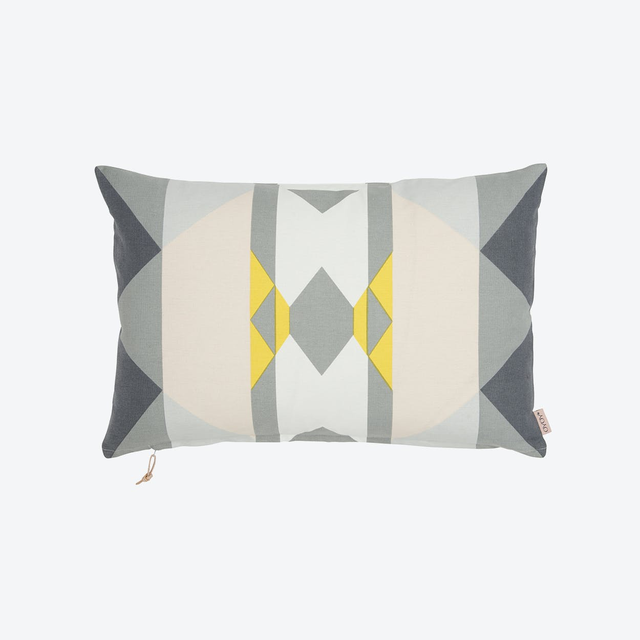 Boho Cushion  in Yellow/Grey/Shell