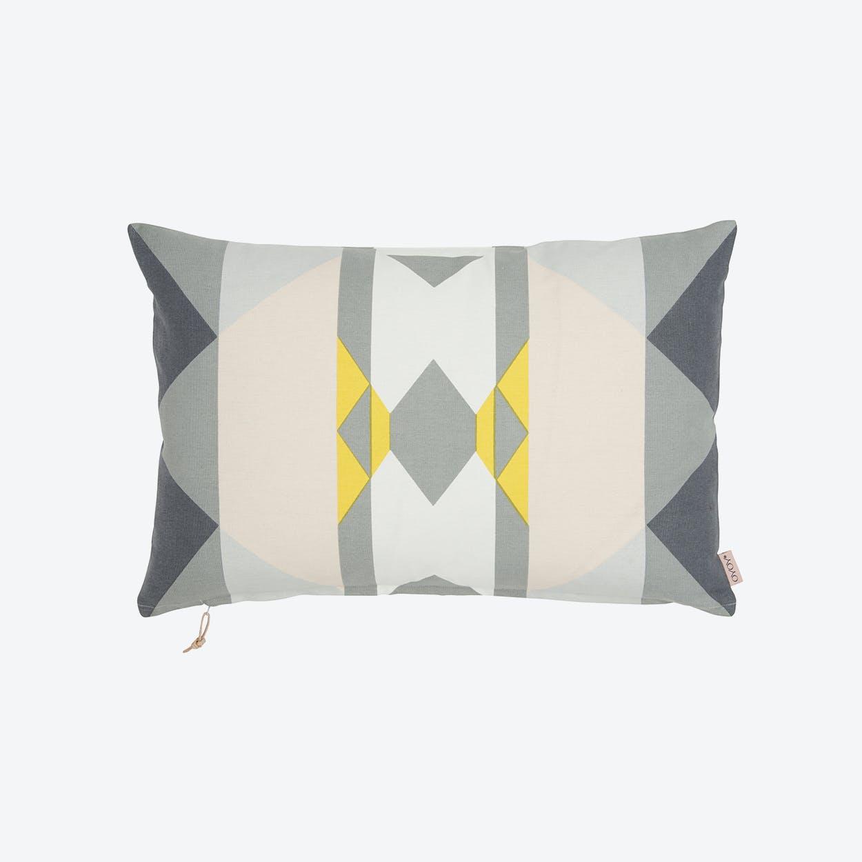 Boho Cushion  in Yellow/Grey/Shell