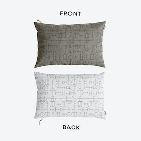 Cave Cushion in Grey/White