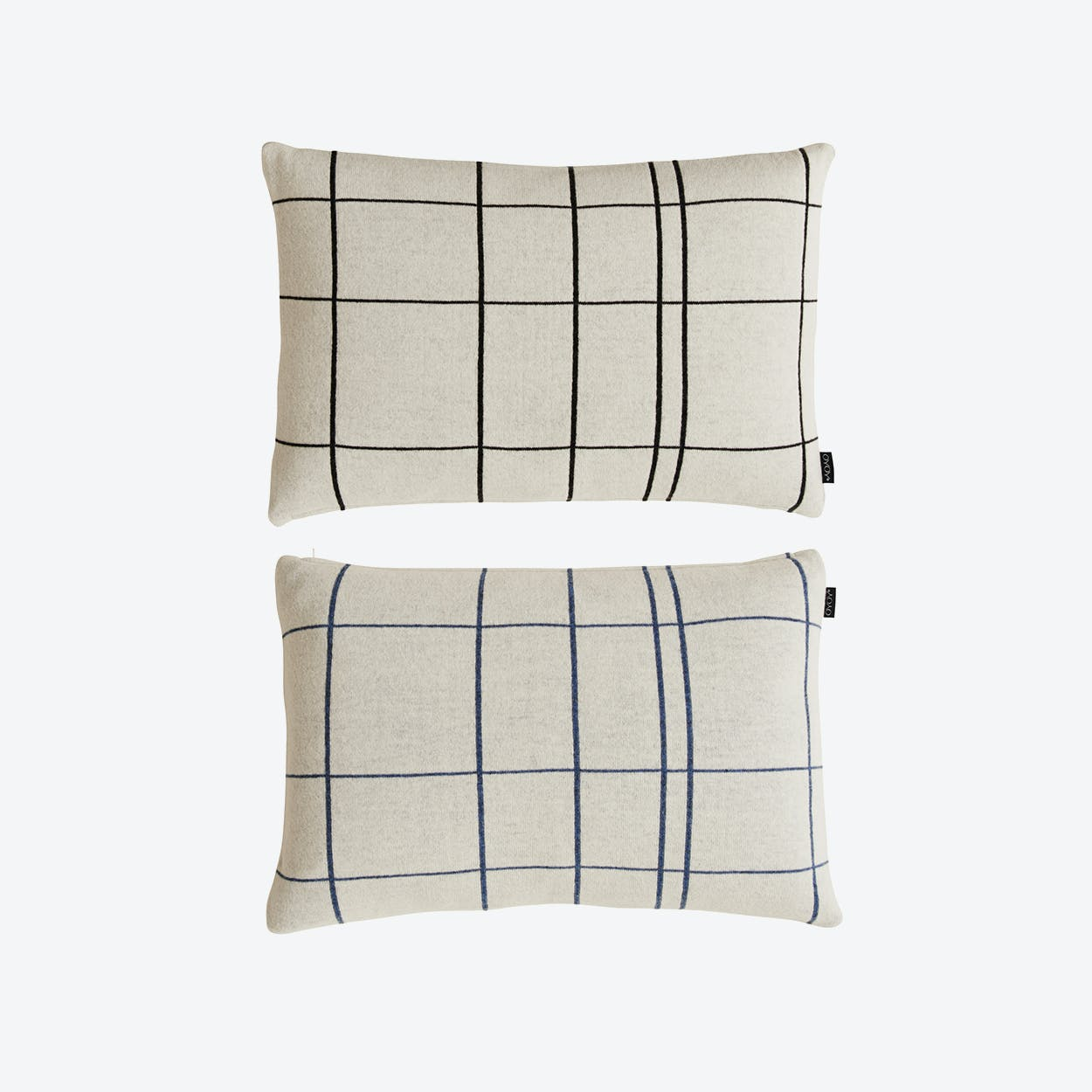 Square Cushion in White/Black & White/Blue