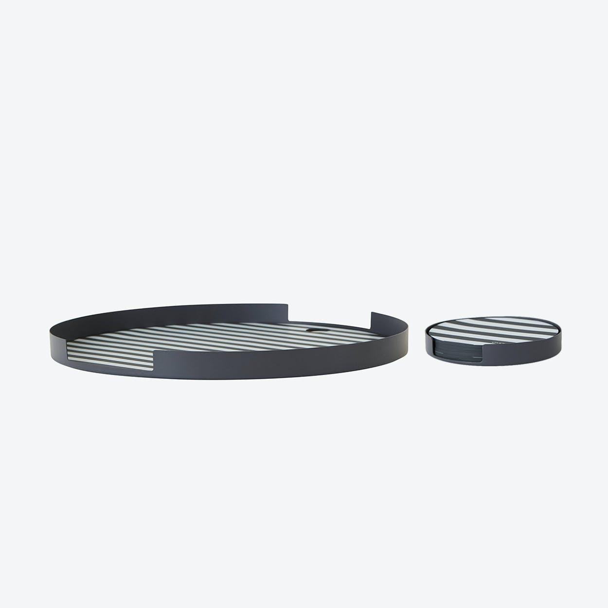 Oka Coaster & Tray Set in Anthracite