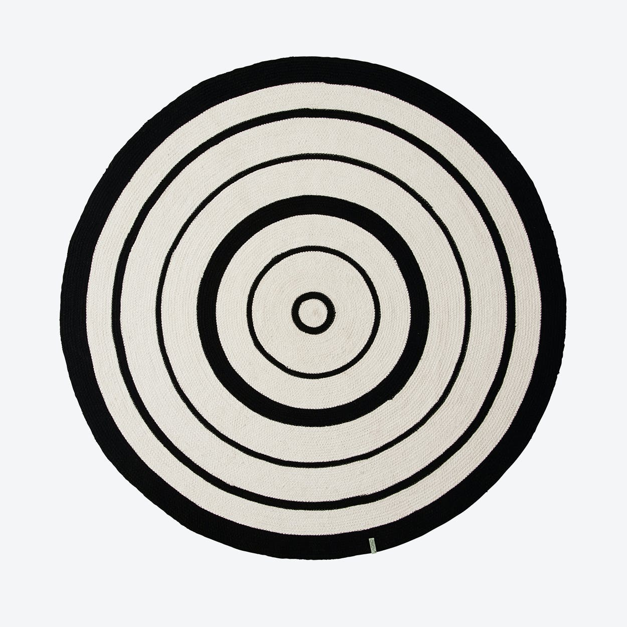 Circle Rug in Black/offwhite