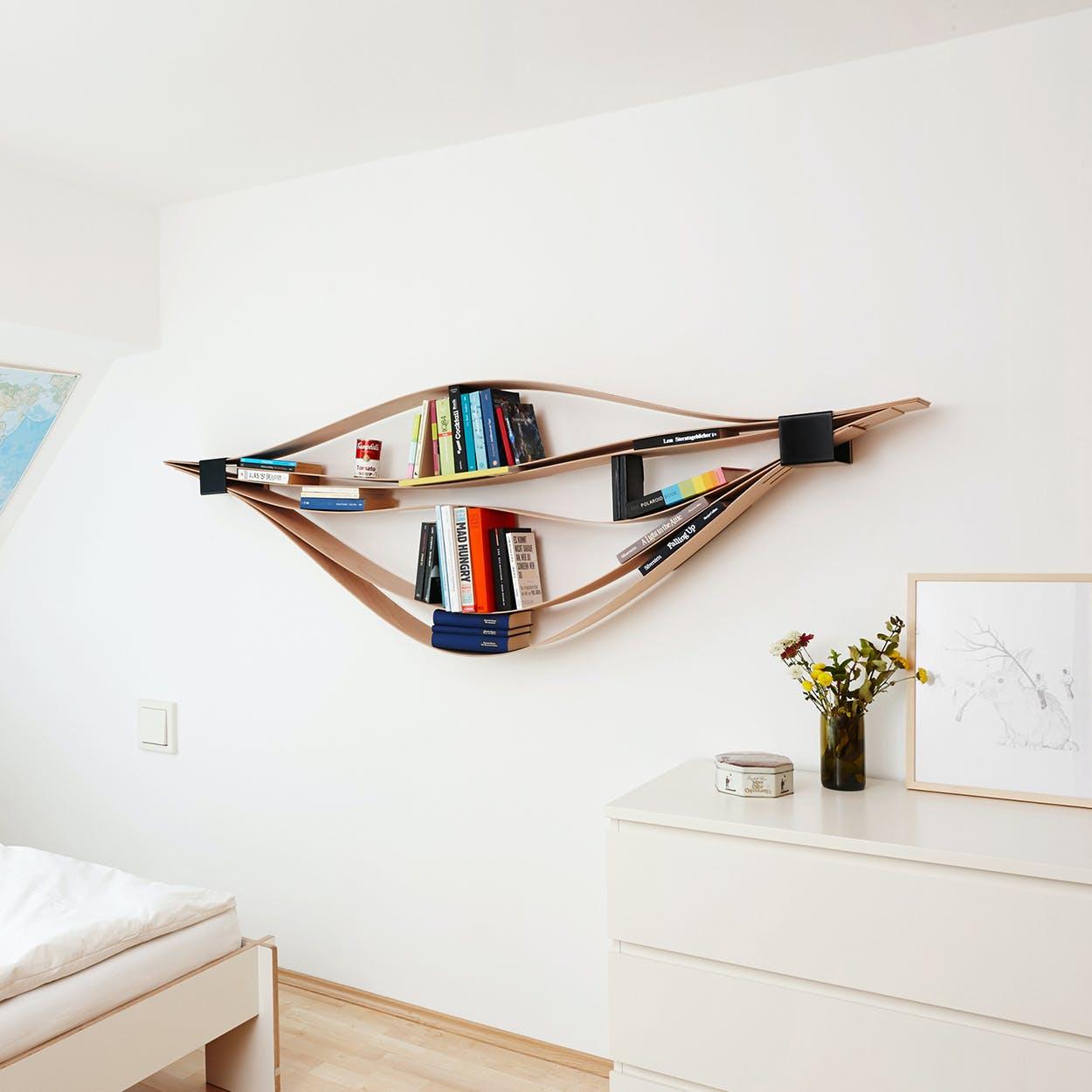Chuck Wooden Flexible Wall Shelf in Black