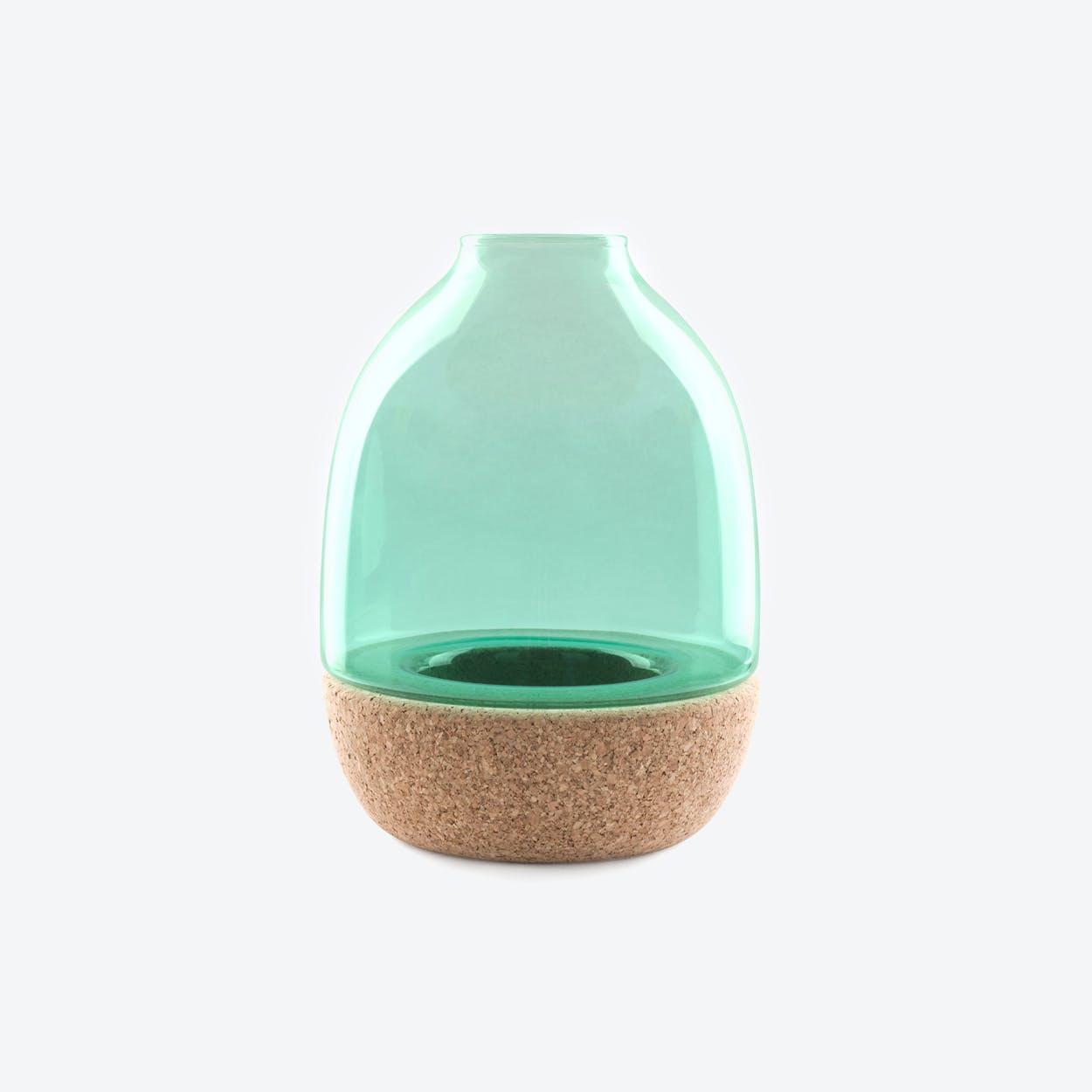 Pitaro Vase in Turquoise Glass