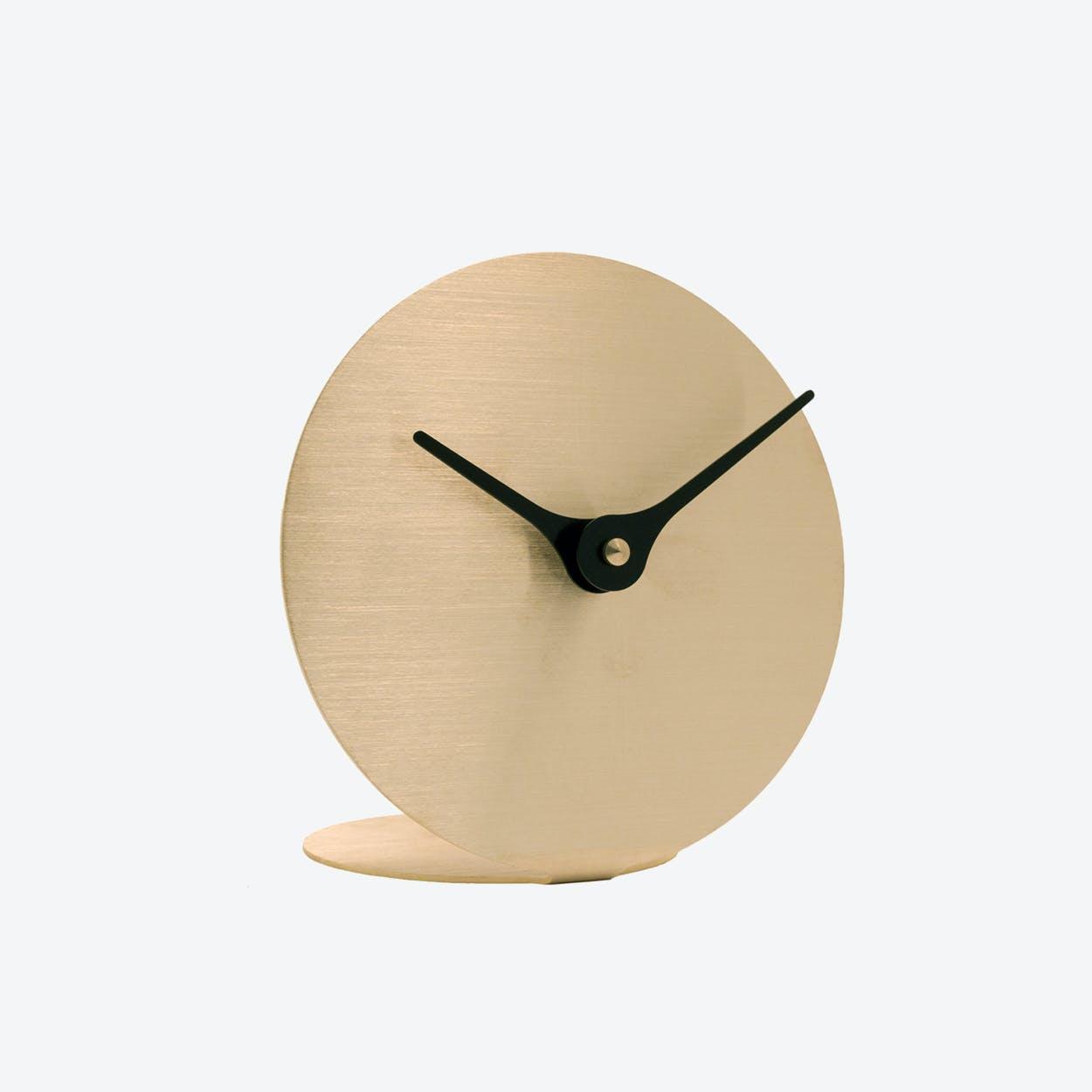 Lilje Table Clock - Brass & Black Aluminium