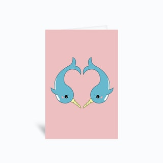 Narwhal Heart Greetings Card