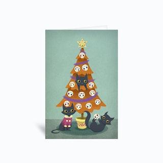 Meowy Christmas Sugar Skull  Greetings Card