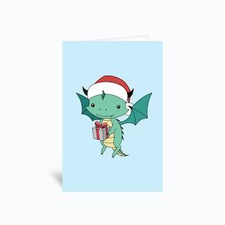 Christmas Dragon  Greetings Card