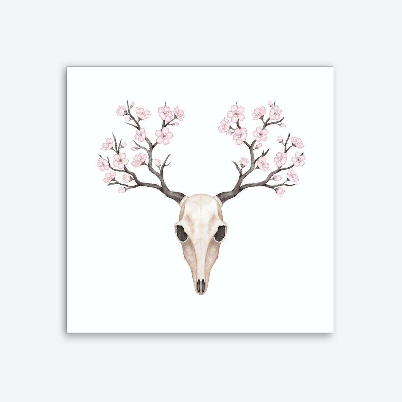Blooming Deer Skull Art Print