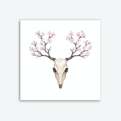 Blooming Deer Skull Art Print