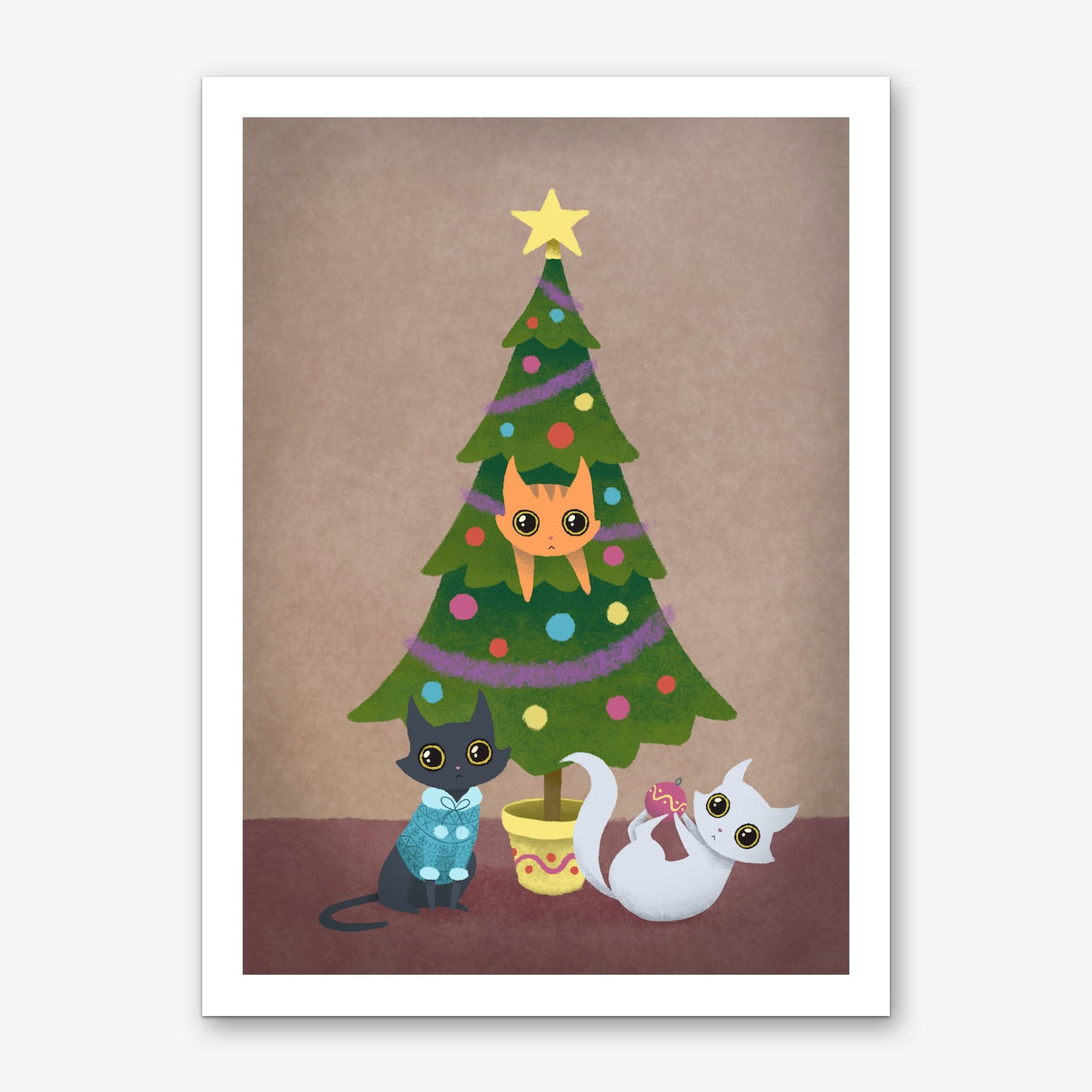 Meowy Christmas.Meowy Christmas Art Print