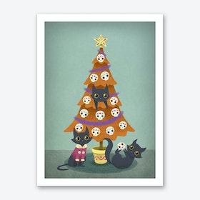Meowy Christmas Sugar Skulls Art Print
