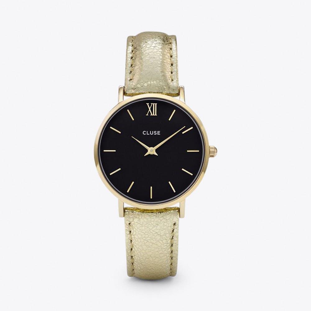Minuit Watch in Gold Black & Gold Metallic